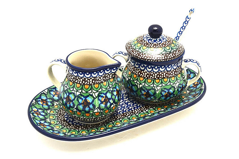 Ceramika Artystyczna Polish Pottery Cream & Sugar Set with Sugar Spoon - Unikat Signature - U151 S42-U0151 (Ceramika Artystyczna)