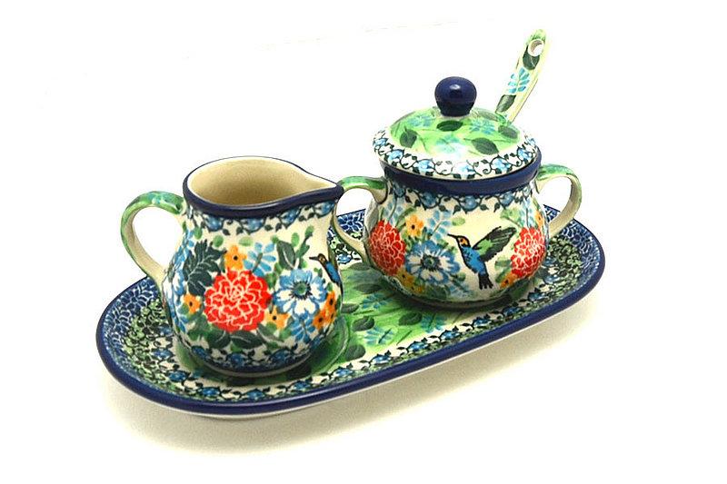 Ceramika Artystyczna Polish Pottery Cream & Sugar Set with Sugar Spoon - Unikat Signature - U3271 S42-U3271 (Ceramika Artystyczna)