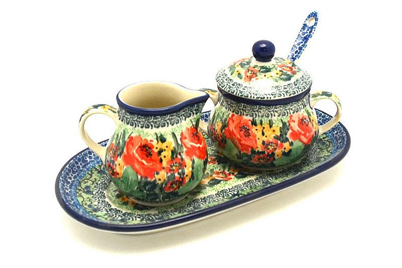 Ceramika Artystyczna Polish Pottery Cream & Sugar Set with Sugar Spoon - Unikat Signature - U4400 S42-U4400 (Ceramika Artystyczna)