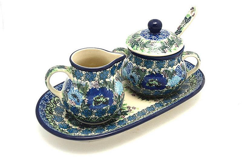 Ceramika Artystyczna Polish Pottery Cream & Sugar Set with Sugar Spoon - Unikat Signature - U4520 S42-U4520 (Ceramika Artystyczna)