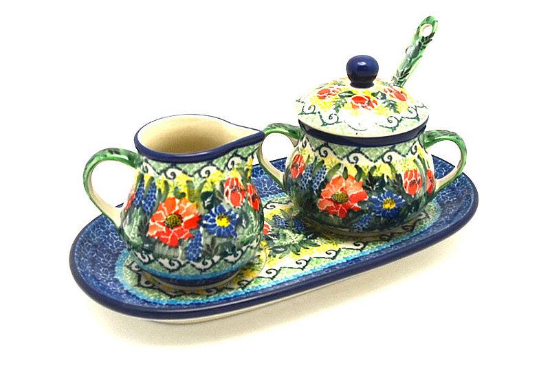Ceramika Artystyczna Polish Pottery Cream & Sugar Set with Sugar Spoon - Unikat Signature - U4610 S42-U4610 (Ceramika Artystyczna)
