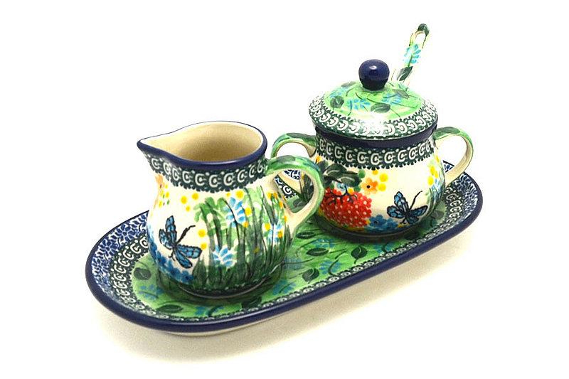 Ceramika Artystyczna Polish Pottery Cream & Sugar Set with Sugar Spoon - Unikat Signature - U4612 S42-U4612 (Ceramika Artystyczna)