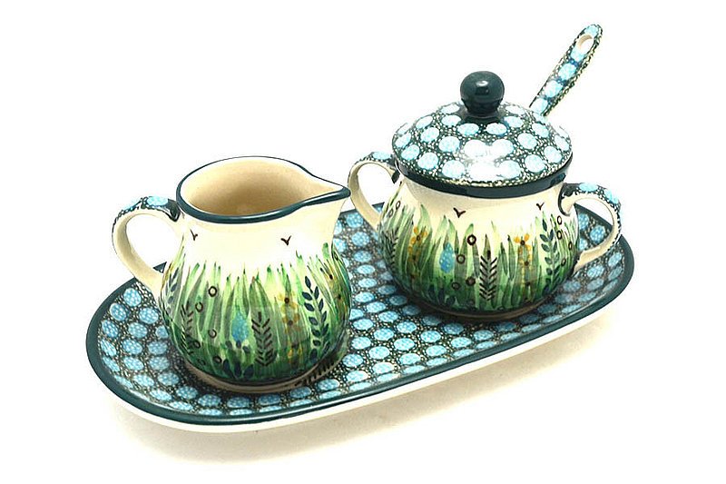 Ceramika Artystyczna Polish Pottery Cream & Sugar Set with Sugar Spoon - Unikat Signature - U803 S42-U0803 (Ceramika Artystyczna)
