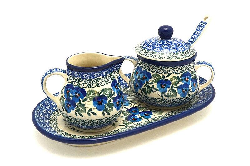 Ceramika Artystyczna Polish Pottery Cream & Sugar Set with Sugar Spoon - Winter Viola S42-2273a (Ceramika Artystyczna)