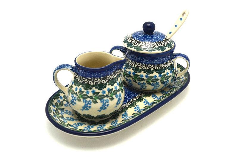 Ceramika Artystyczna Polish Pottery Cream & Sugar Set with Sugar Spoon - Wisteria S42-1473a (Ceramika Artystyczna)