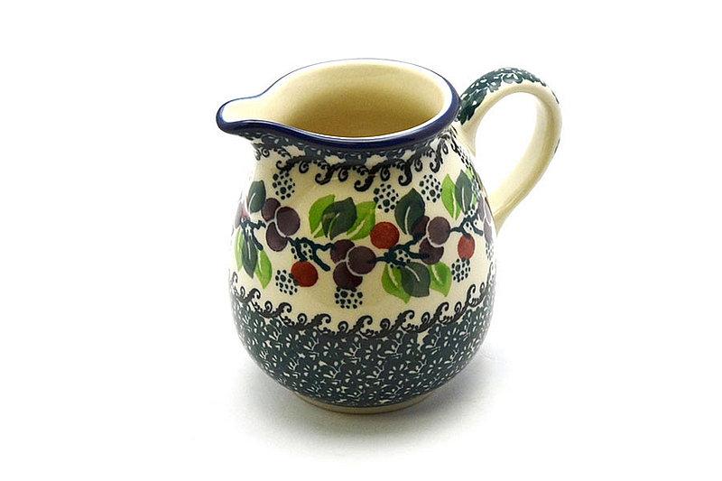 Ceramika Artystyczna Polish Pottery Creamer - 10 oz. - Burgundy Berry Green B84-1415a (Ceramika Artystyczna)