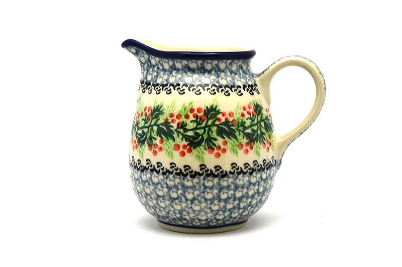 Ceramika Artystyczna Polish Pottery Creamer - 10 oz. - Holly Berry B84-1734a (Ceramika Artystyczna)