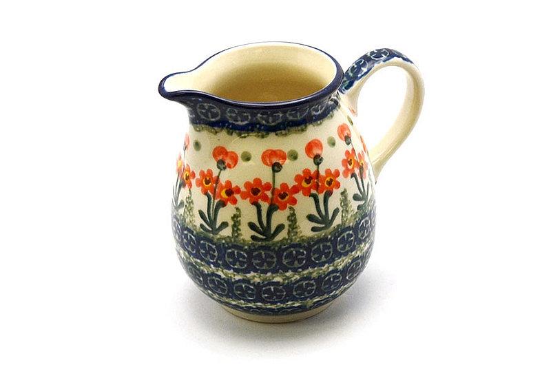 Ceramika Artystyczna Polish Pottery Creamer - 10 oz. - Peach Spring Daisy B84-560a (Ceramika Artystyczna)