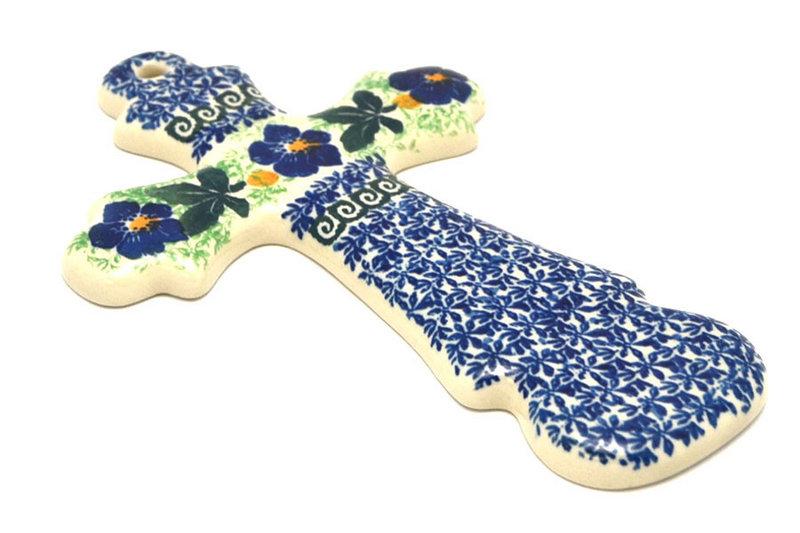 """Ceramika Artystyczna Polish Pottery Cross - Large (8"""") - Blue Pansy 533-1552a (Ceramika Artystyczna)"""