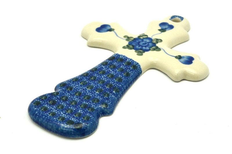 """Ceramika Artystyczna Polish Pottery Cross - Large (8"""") - Blue Poppy 533-163a (Ceramika Artystyczna)"""