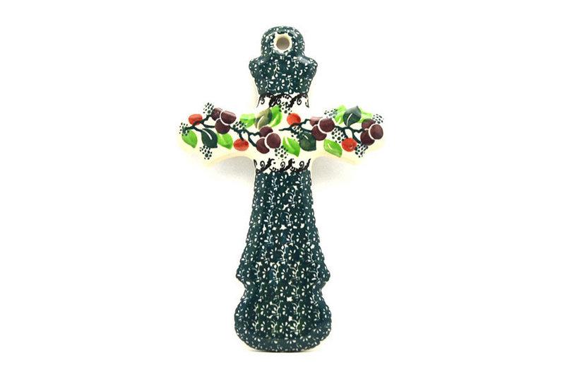"""Ceramika Artystyczna Polish Pottery Cross - Large (8"""") - Burgundy Berry Green 533-1415a (Ceramika Artystyczna)"""