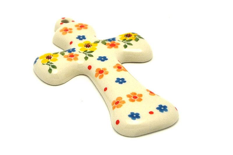 """Ceramika Artystyczna Polish Pottery Cross - Small (5"""") - Buttercup 613-2225a (Ceramika Artystyczna)"""