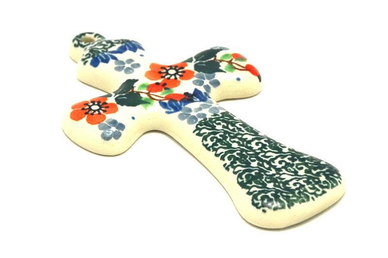 """Ceramika Artystyczna Polish Pottery Cross - Small (5"""") - Cherry Blossom 613-2103a (Ceramika Artystyczna)"""