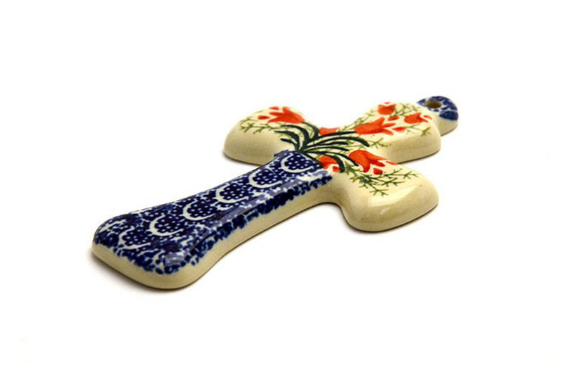 "Polish Pottery Cross - Small (5"") - Crimson Bells"