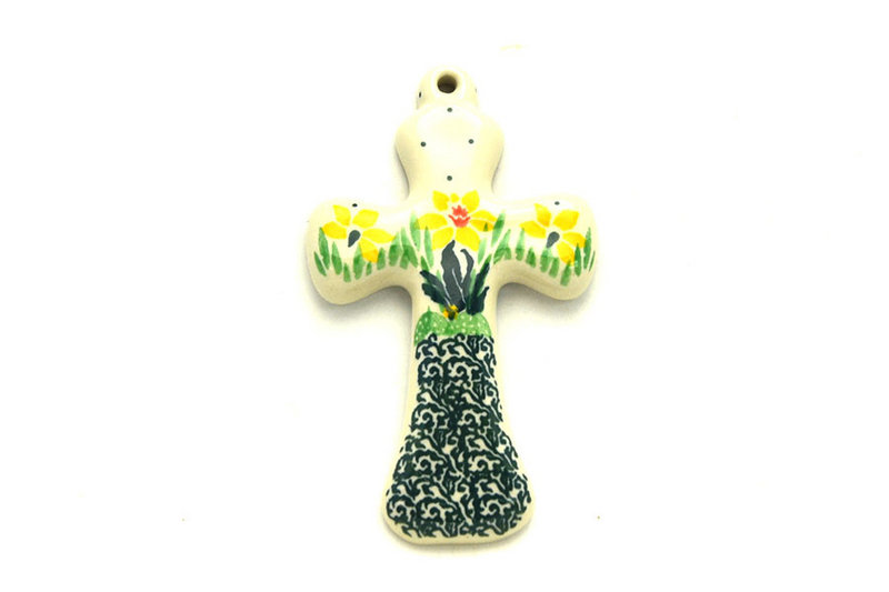 """Ceramika Artystyczna Polish Pottery Cross - Small (5"""") - Daffodil 613-2122q (Ceramika Artystyczna)"""
