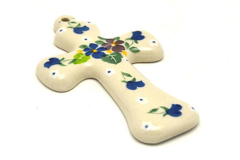 """Ceramika Artystyczna Polish Pottery Cross - Small (5"""") - Plum Luck 613-2509a (Ceramika Artystyczna)"""