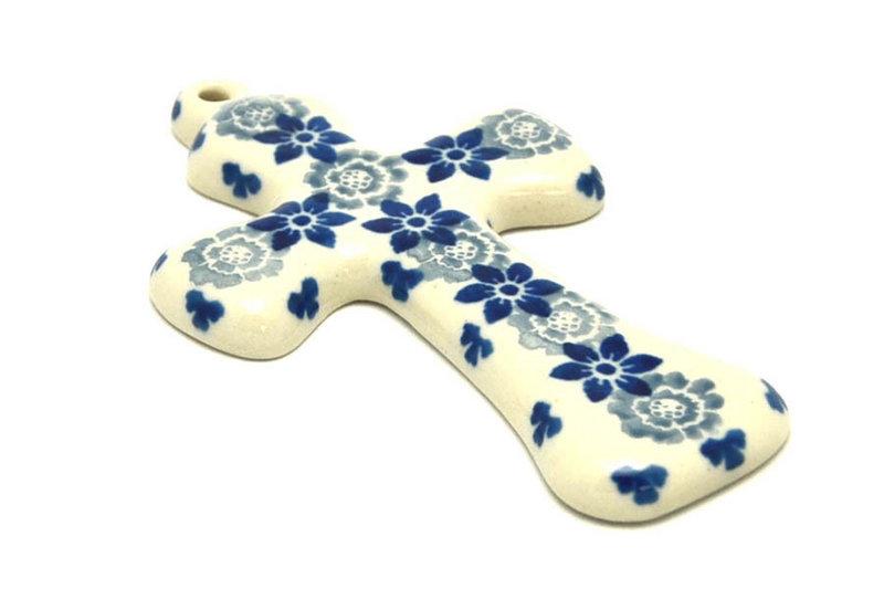 """Ceramika Artystyczna Polish Pottery Cross - Small (5"""") - Silver Lace 613-2158a (Ceramika Artystyczna)"""