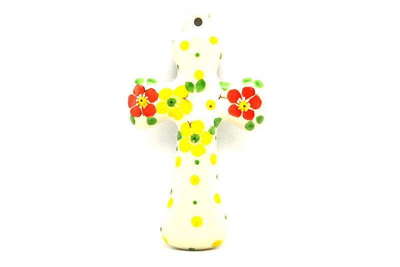 """Ceramika Artystyczna Polish Pottery Cross - Small (5"""") - Spring Blossom 613-2518q (Ceramika Artystyczna)"""