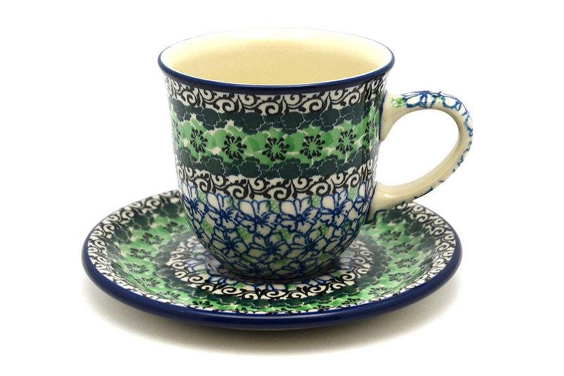 Ceramika Artystyczna Polish Pottery Cup & Saucer - Kiwi B66-1479a (Ceramika Artystyczna)