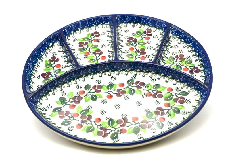 Ceramika Artystyczna Polish Pottery Dish - Divided Appetizer - Burgundy Berry Green 498-1415a (Ceramika Artystyczna)