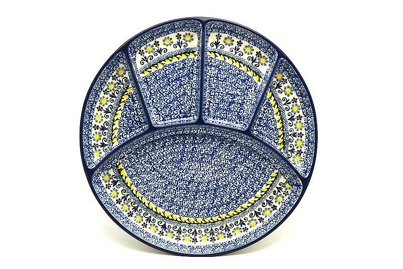 Ceramika Artystyczna Polish Pottery Dish - Divided Appetizer - Daisy Maize 498-2178a (Ceramika Artystyczna)