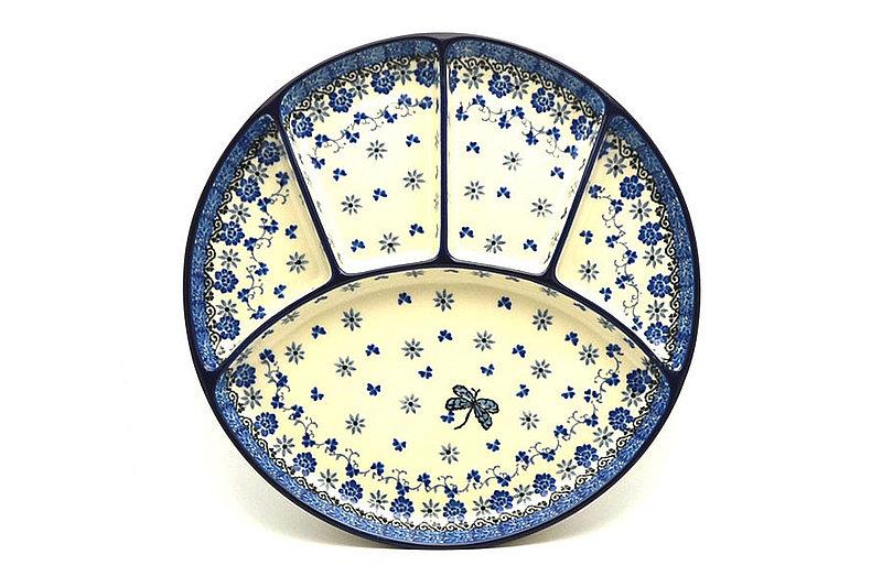 Ceramika Artystyczna Polish Pottery Dish - Divided Appetizer - Dragonfly 498-2009a (Ceramika Artystyczna)