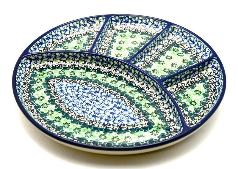 Ceramika Artystyczna Polish Pottery Dish - Divided Appetizer - Kiwi 498-1479a (Ceramika Artystyczna)