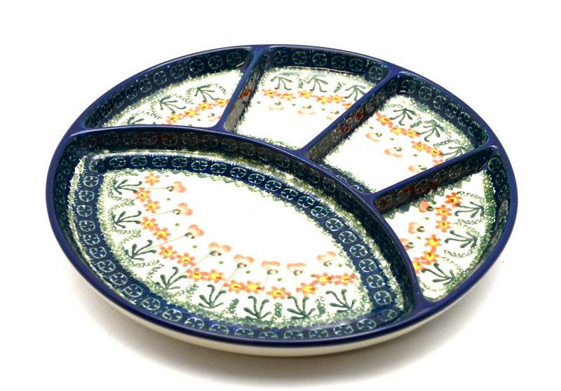 Ceramika Artystyczna Polish Pottery Dish - Divided Appetizer - Peach Spring Daisy 498-560a (Ceramika Artystyczna)