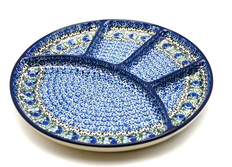 Ceramika Artystyczna Polish Pottery Dish - Divided Appetizer - Peacock Feather 498-1513a (Ceramika Artystyczna)