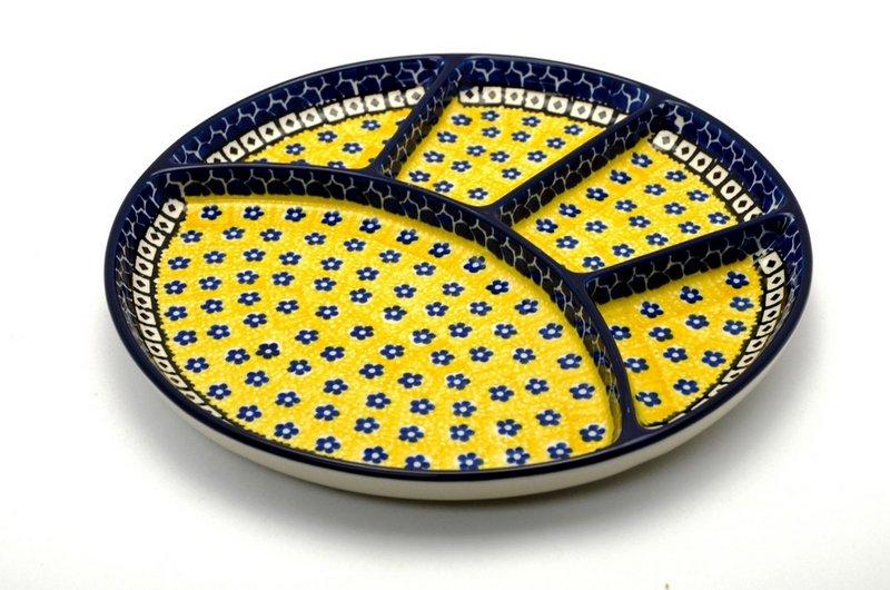Ceramika Artystyczna Polish Pottery Dish - Divided Appetizer - Sunburst 498-859a (Ceramika Artystyczna)