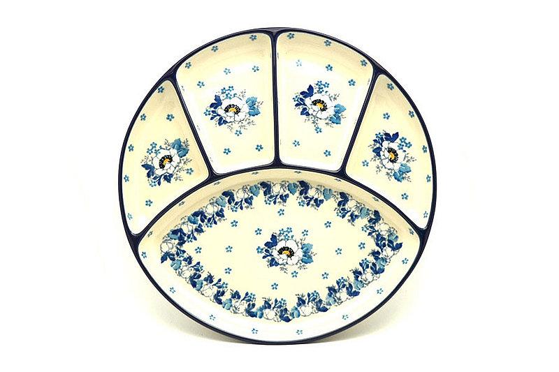 Ceramika Artystyczna Polish Pottery Dish - Divided Appetizer - White Poppy 498-2222a (Ceramika Artystyczna)