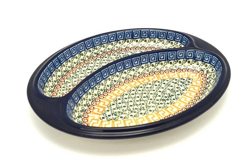 Ceramika Artystyczna Polish Pottery Dish - Divided Polish Sausage - Autumn 497-050a (Ceramika Artystyczna)
