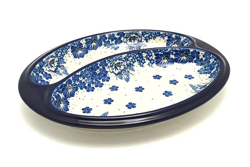 Ceramika Artystyczna Polish Pottery Dish - Divided Polish Sausage - Blue Bayou 497-1975a (Ceramika Artystyczna)