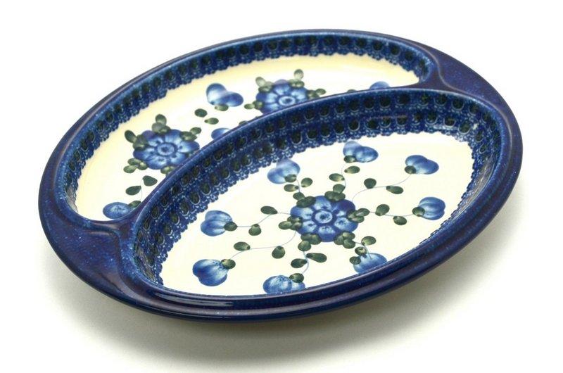 Ceramika Artystyczna Polish Pottery Dish - Divided Polish Sausage - Blue Poppy 497-163a (Ceramika Artystyczna)