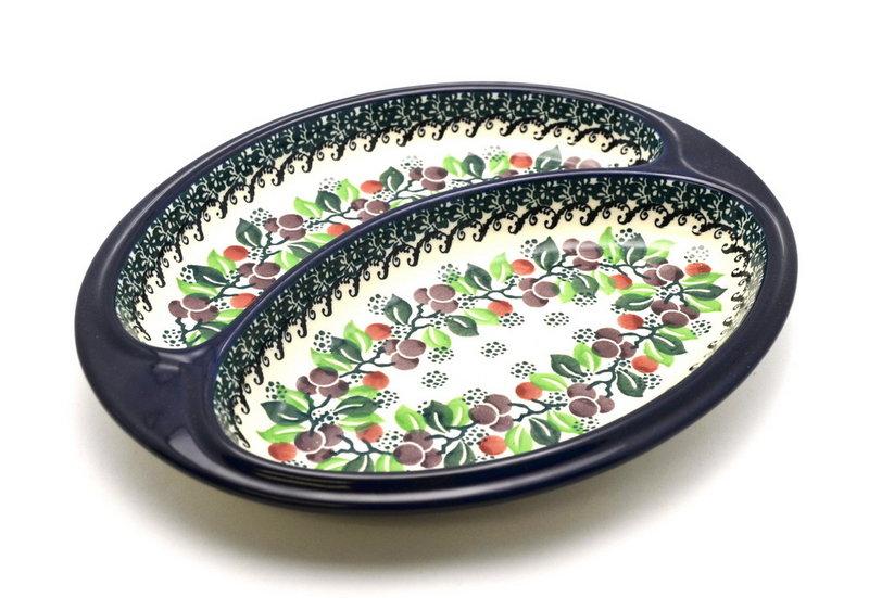 Ceramika Artystyczna Polish Pottery Dish - Divided Polish Sausage - Burgundy Berry Green 497-1415a (Ceramika Artystyczna)