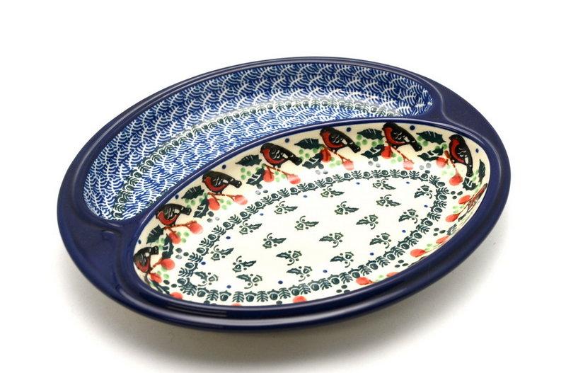 Ceramika Artystyczna Polish Pottery Dish - Divided Polish Sausage - Red Robin 497-1257a (Ceramika Artystyczna)