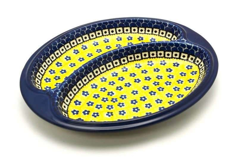 Ceramika Artystyczna Polish Pottery Dish - Divided Polish Sausage - Sunburst 497-859a (Ceramika Artystyczna)