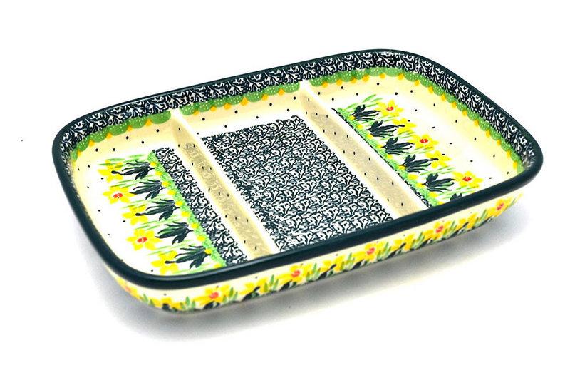 Ceramika Artystyczna Polish Pottery Dish - Divided Rectangular - Daffodil 393-2122q (Ceramika Artystyczna)