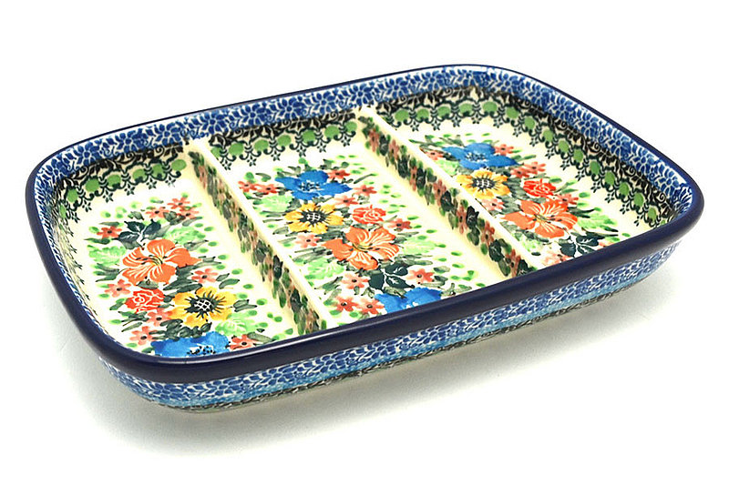 Ceramika Artystyczna Polish Pottery Dish - Divided Rectangular - Unikat Signature U3347 393-U3347 (Ceramika Artystyczna)