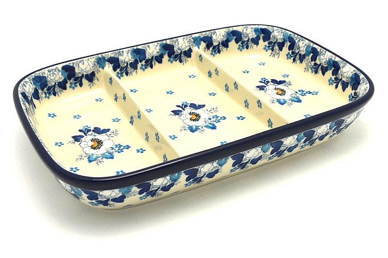 Ceramika Artystyczna Polish Pottery Dish - Divided Rectangular - White Poppy 393-2222a (Ceramika Artystyczna)