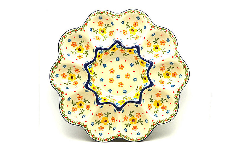 Polish Pottery Egg Plate - 10 Count - Buttercup
