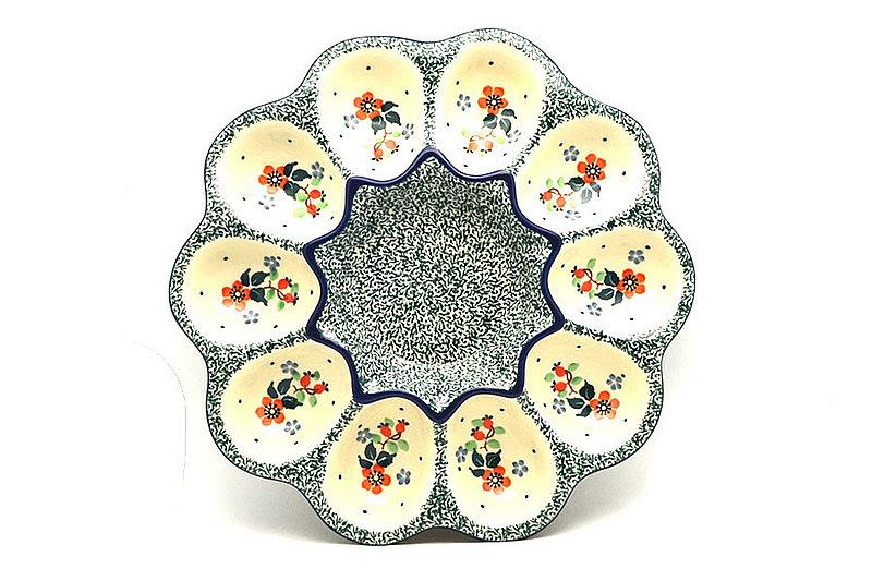 Polish Pottery Egg Plate - 10 Count - Cherry Blossom