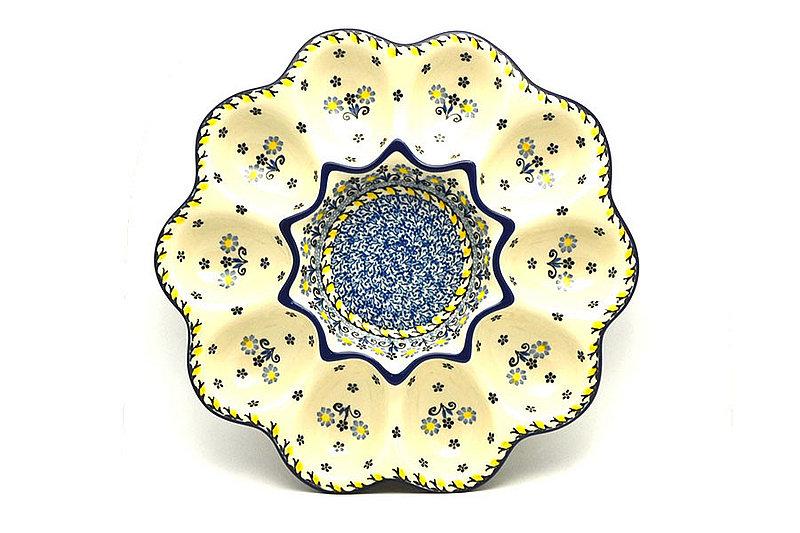Polish Pottery Egg Plate - 10 Count - Daisy Maize