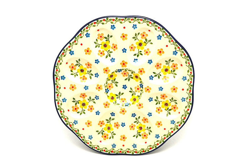 Polish Pottery Egg Plate - 8 Count - Buttercup
