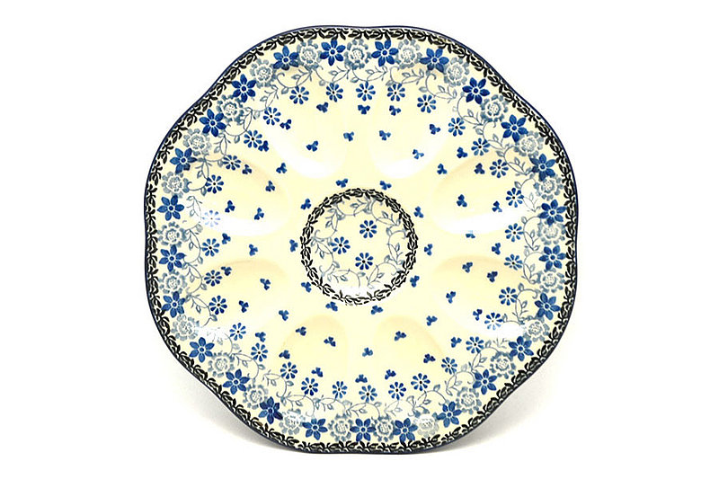 Polish Pottery Egg Plate - 8 Count - Silver Lace