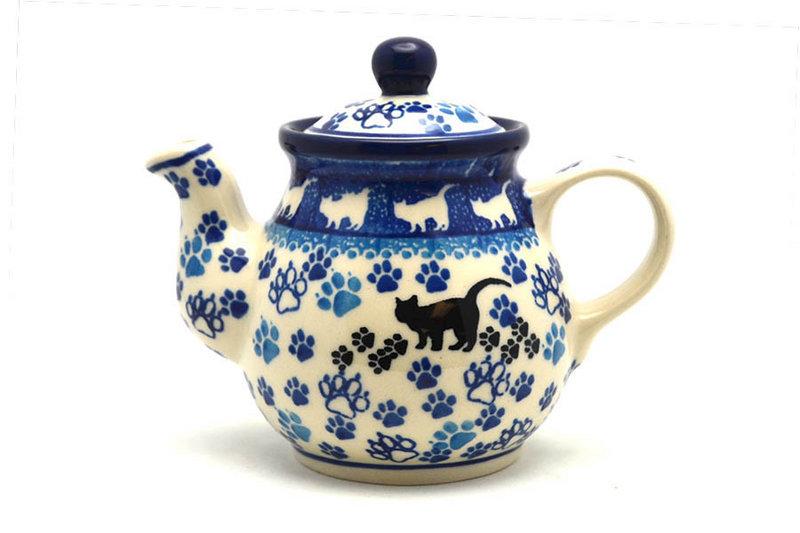Ceramika Artystyczna Polish Pottery Gooseneck Teapot - 10 oz. - Boo Boo Kitty 020-1771a (Ceramika Artystyczna)