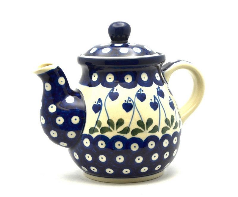 Ceramika Artystyczna Polish Pottery Gooseneck Teapot - 20 oz. - Bleeding Heart 119-377o (Ceramika Artystyczna)