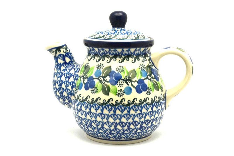Ceramika Artystyczna Polish Pottery Gooseneck Teapot - 20 oz. - Blue Berries 119-1416a (Ceramika Artystyczna)