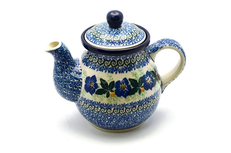 Ceramika Artystyczna Polish Pottery Gooseneck Teapot - 20 oz. - Blue Pansy 119-1552a (Ceramika Artystyczna)