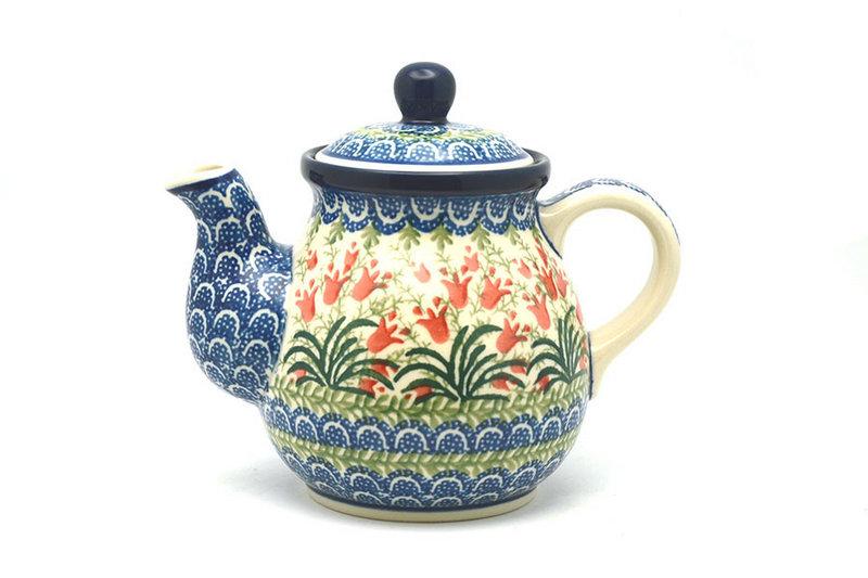 Ceramika Artystyczna Polish Pottery Gooseneck Teapot - 20 oz. - Crimson Bells 119-1437a (Ceramika Artystyczna)